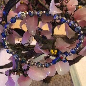 Cloisonné-cross bracelet